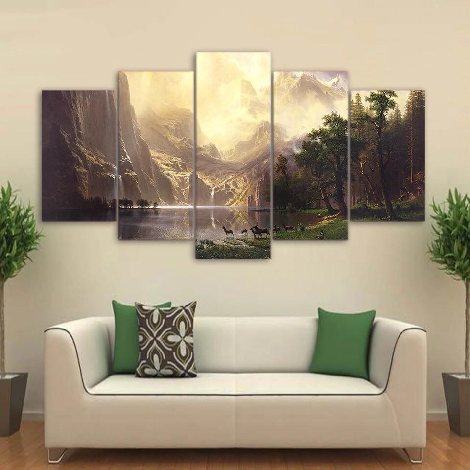 Mountain Lake Natural Landscape Animal Deer - 5 Panel Canvas Print Wall Art Set