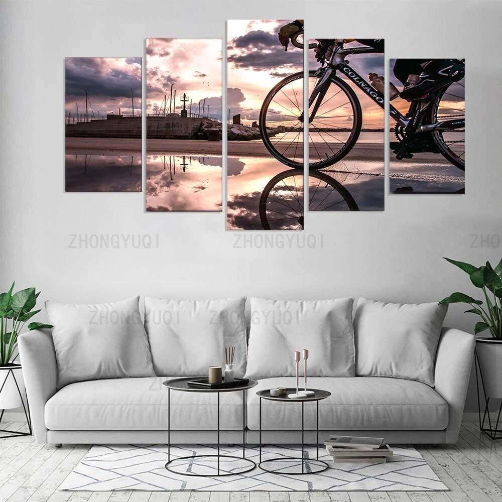 Bicycle Sunshine Cycling - 5 Panel Canvas Print Wall Art Set