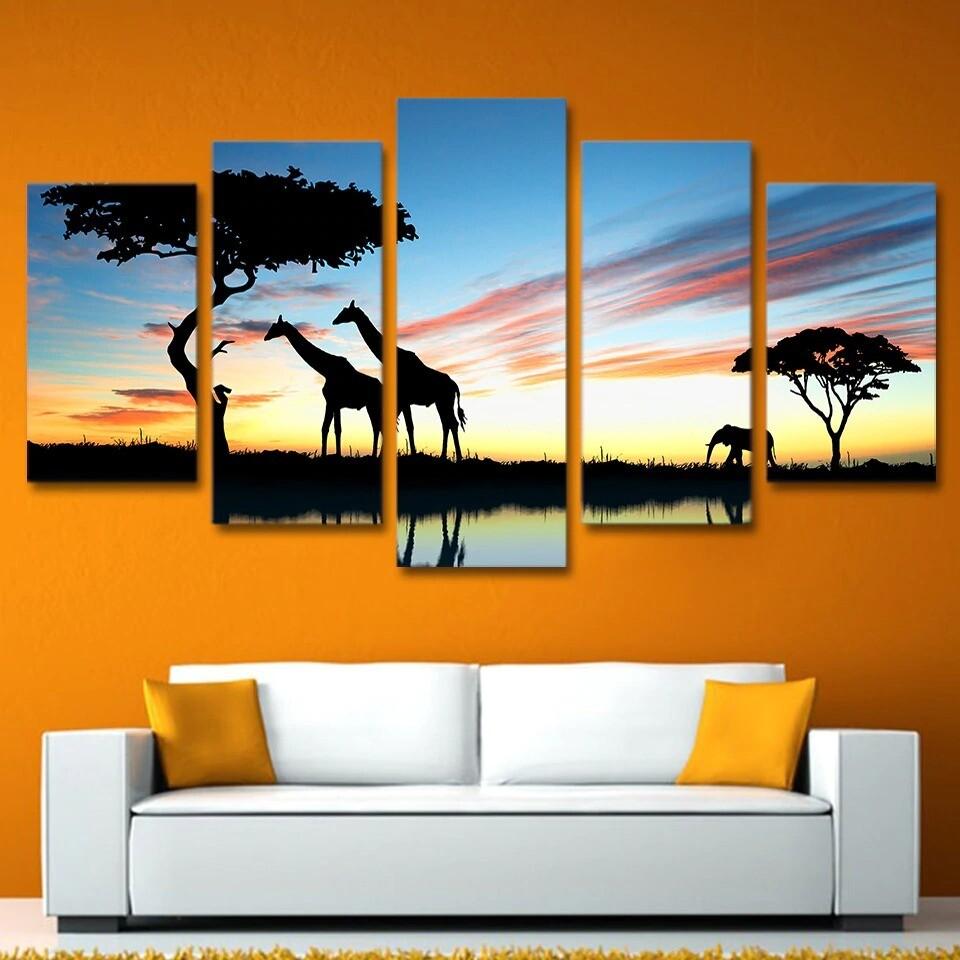 African Animal Giraffe Elephant Sunset Landscape - 5 Panel Canvas Print Wall Art Set