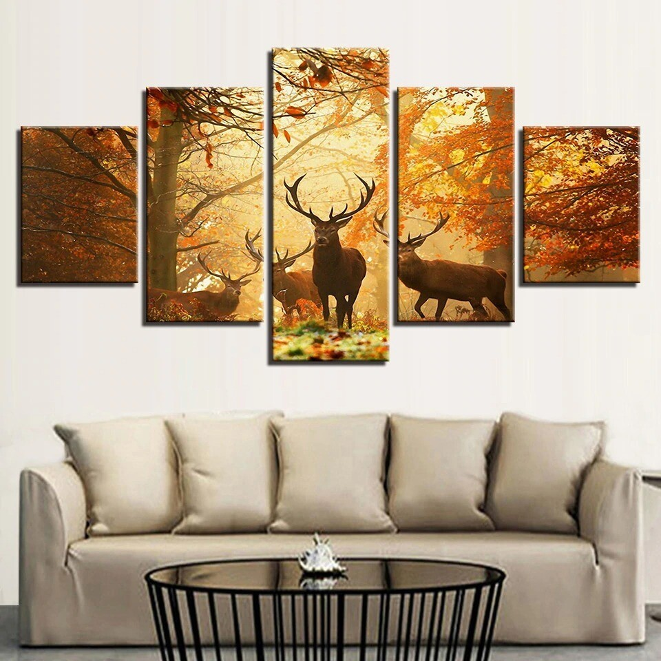 Autumn Forest Animal Deer - 5 Panel Canvas Print Wall Art Set