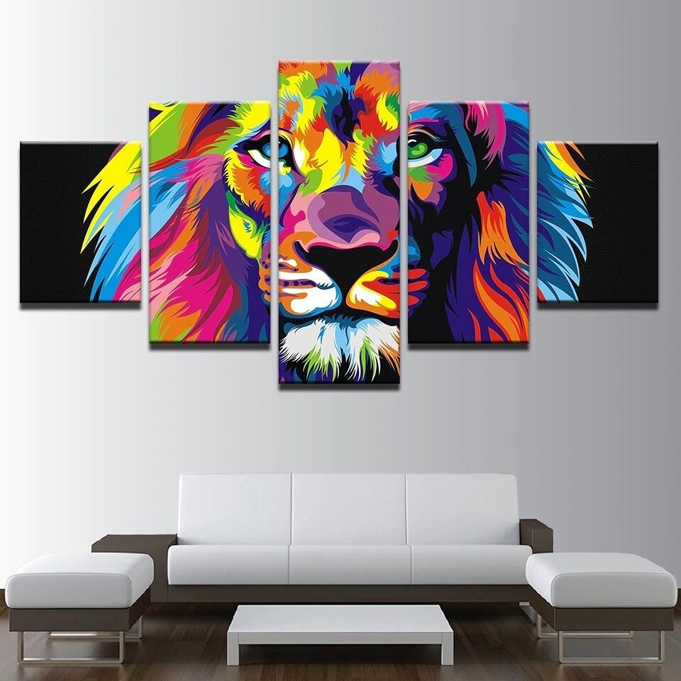 Colorful Animal Lion - 5 Panel Canvas Print Wall Art Set