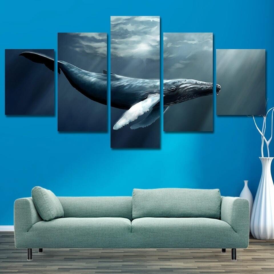 Deep Sea Animal Blue Whale - 5 Panel Canvas Print Wall Art Set