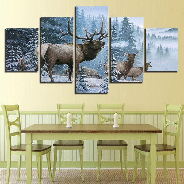 Elk Family In Snow Pine Tree Landscape - 5 Panel Canvas Print Wall Art Set