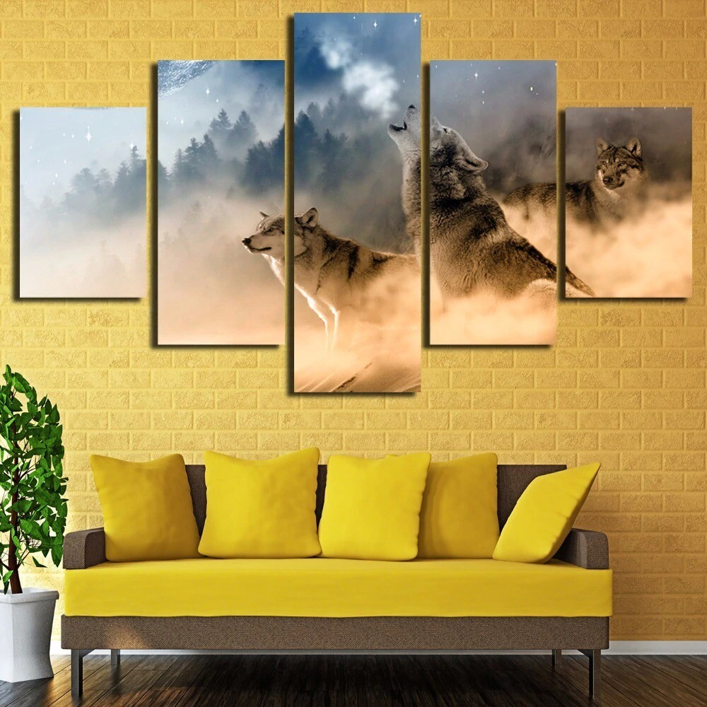 Forest Animal Wolves Howling - 5 Panel Canvas Print Wall Art Set