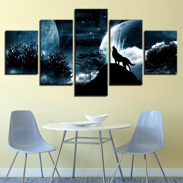 Full Moon Night Wolf Roar - 5 Panel Canvas Print Wall Art Set