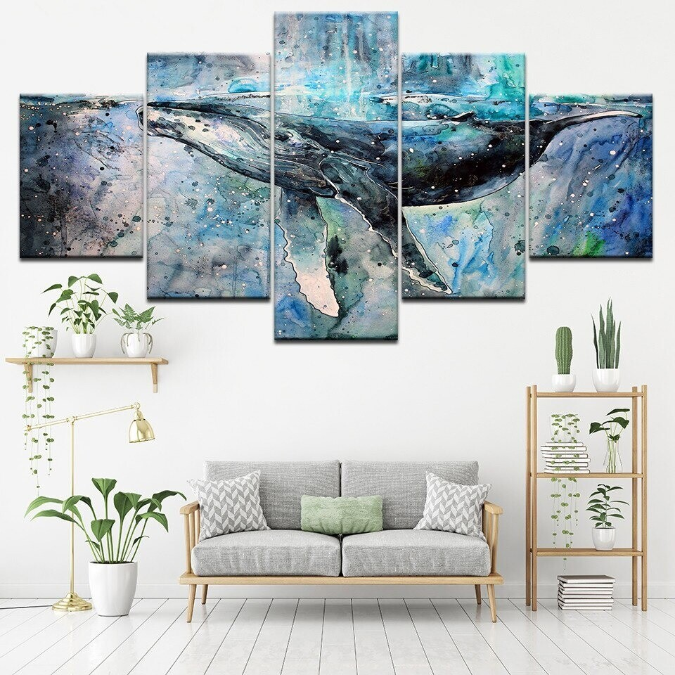 Marine Whale - 5 Panel Canvas Print Wall Art Set