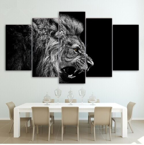 Roaring Lion Paintings - 5 Panel Canvas Print Wall Art Set