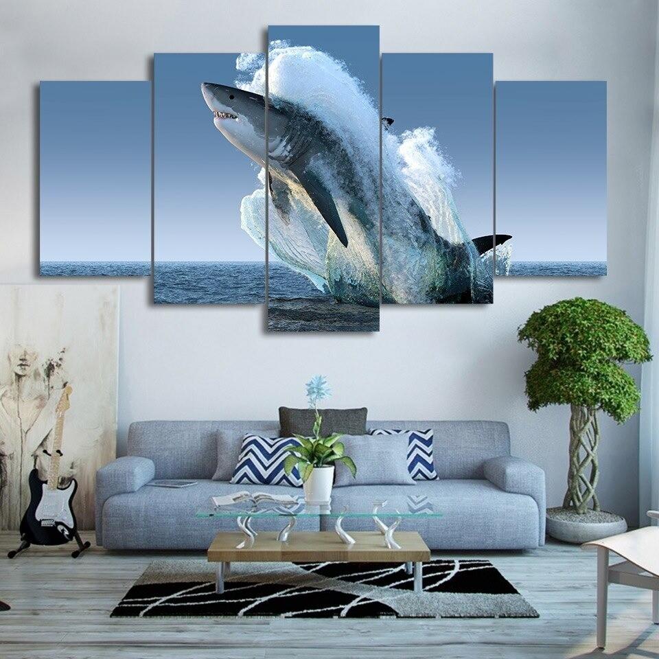 Sea Surface Animal Jumping White Shark - 5 Panel Canvas Print Wall Art Set
