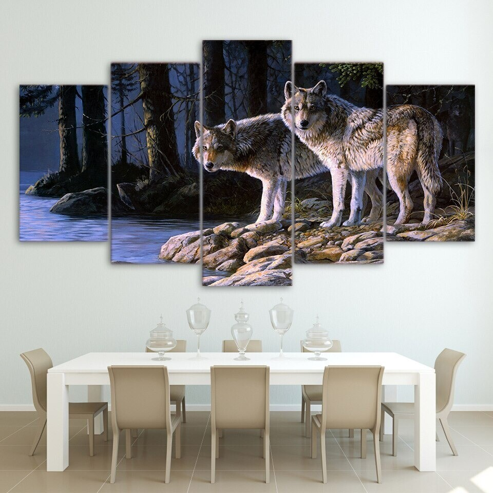Two Wolves - 5 Panel Canvas Print Wall Art Set