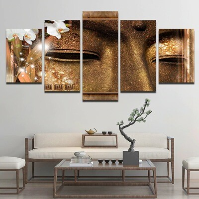Religious Buddha Statue - 5 Panel Canvas Print Wall Art Set