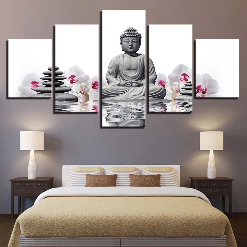 Stone Statue Of Buddha White Moth Orchid Flowers - 5 Panel Canvas Print Wall Art Set