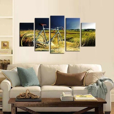 Bicycle on Grass - 5 Panel Canvas Print Wall Art Set