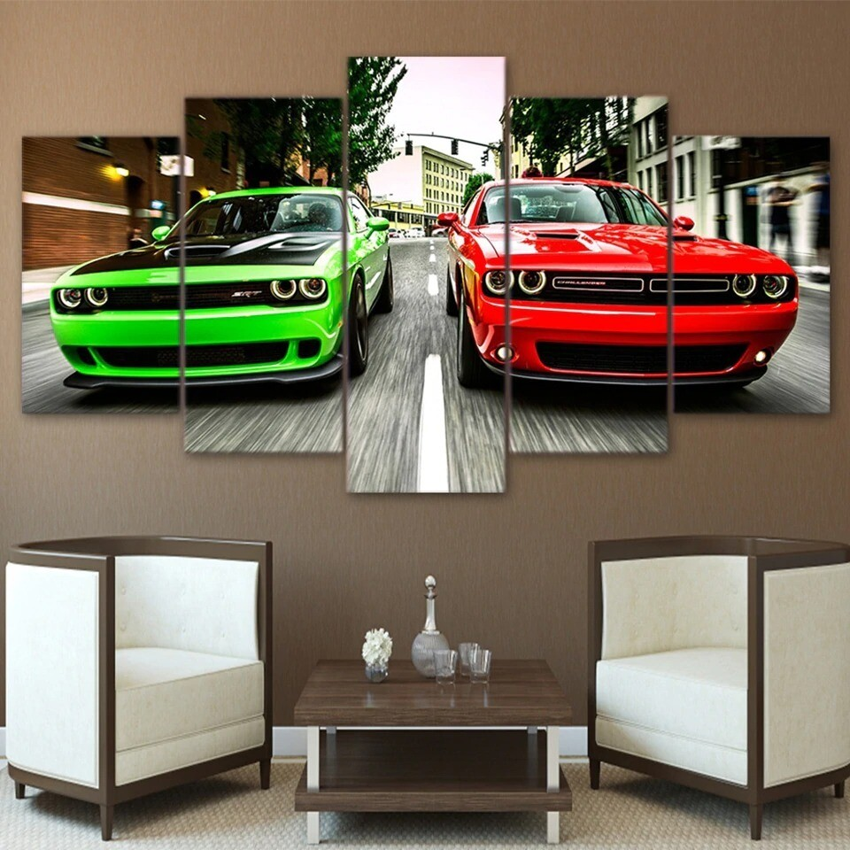 Green Red Cars - 5 Panel Canvas Print Wall Art Set