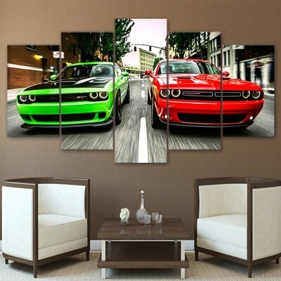 Green Red Cars - 5 Panel Canvas Print Wall Art Set