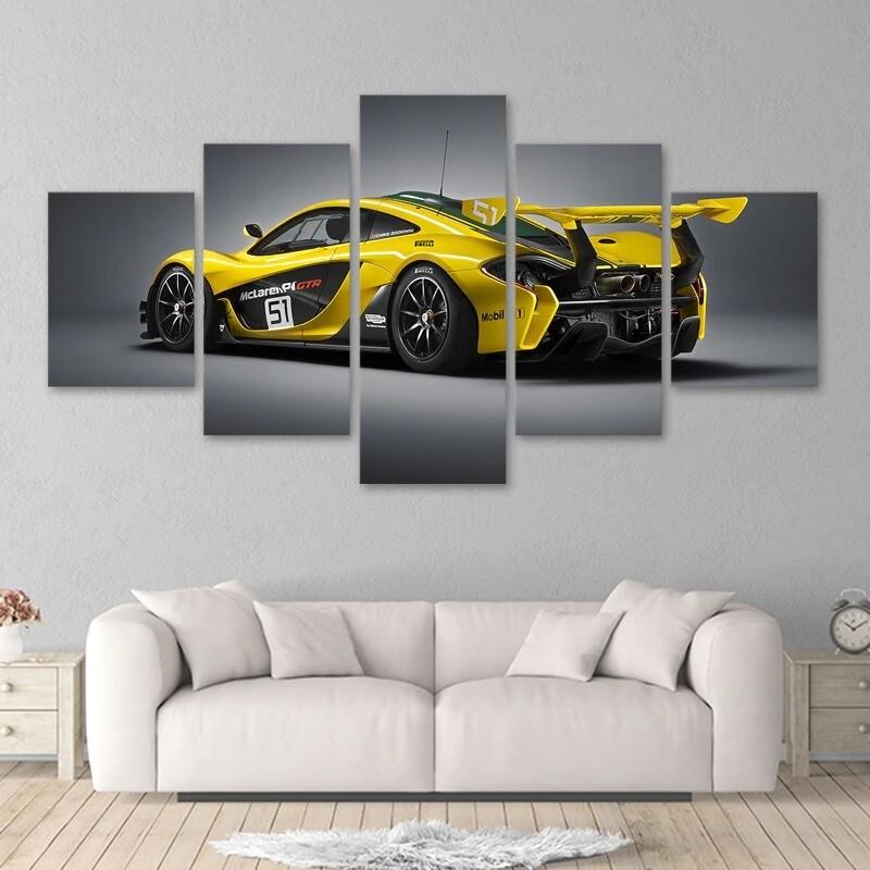 Yellow Luxury Sports Car - 5 Panel Canvas Print Wall Art Set