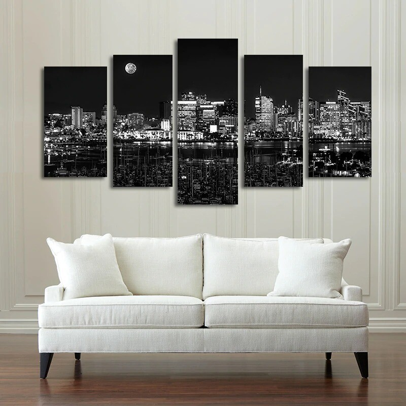 Black And White City Night View - 5 Panel Canvas Print Wall Art Set