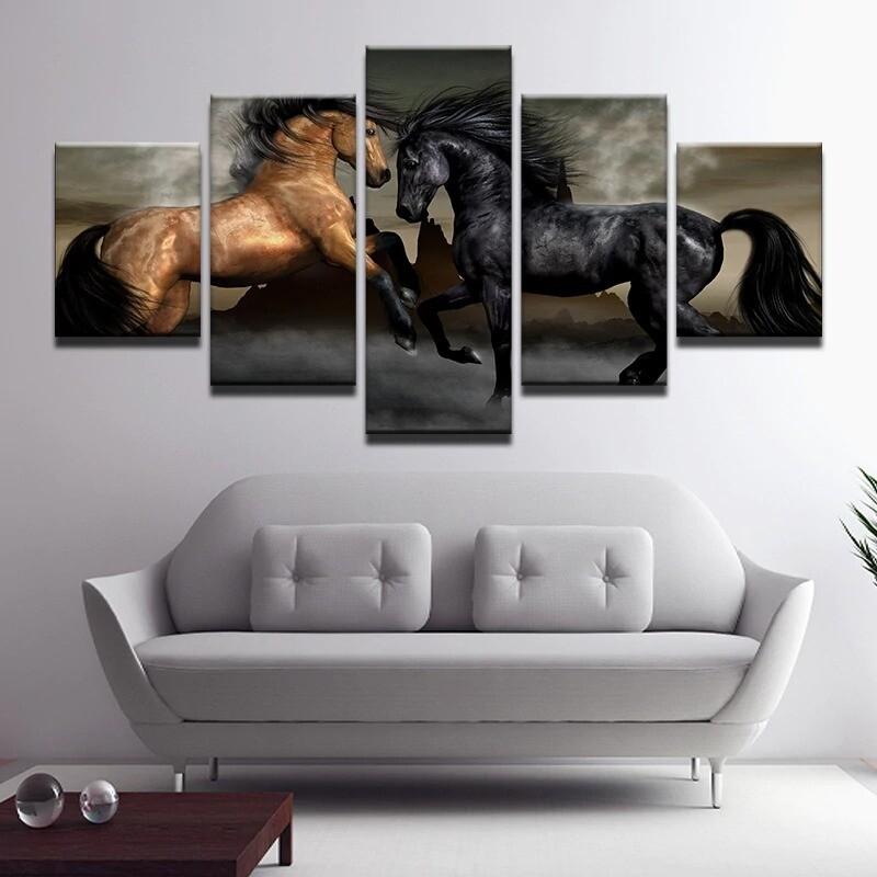 Black Brown Horse Animal - 5 Panel Canvas Print Wall Art Set