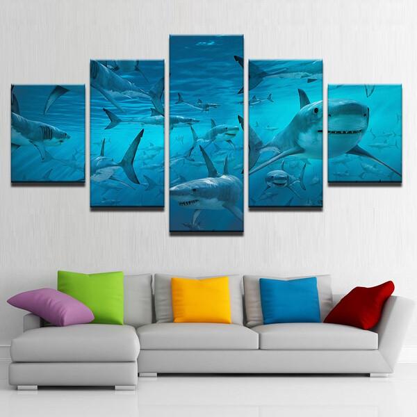 Blue Deep Sea Shark Swarm - 5 Panel Canvas Print Wall Art Set