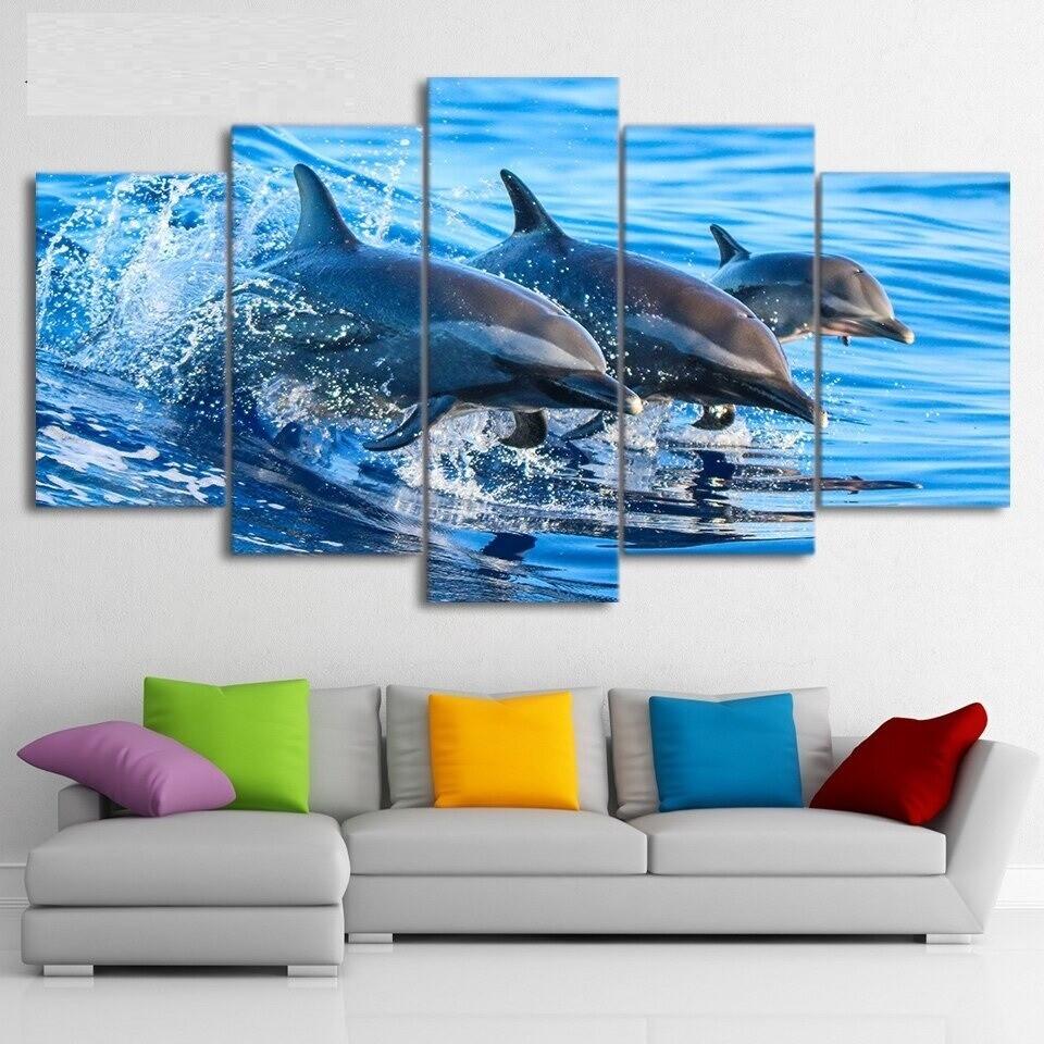 Blue Ocean Jumping Dolphin - 5 Panel Canvas Print Wall Art Set