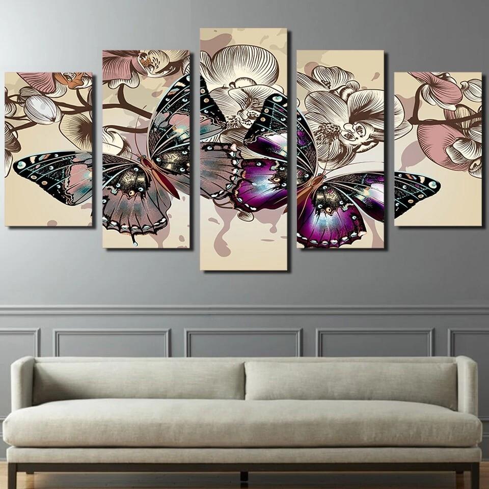 Flowers Butterfly - 5 Panel Canvas Print Wall Art Set