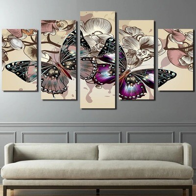 Flowers Butterfly - 5 Panel Canvas Print Wall Art Set