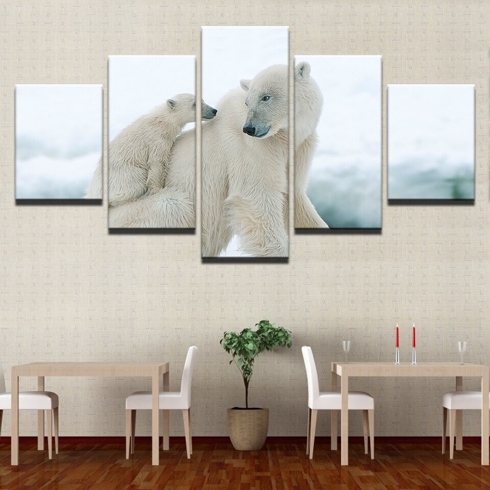 Polar Bear and Cub - 5 Panel Canvas Print Wall Art Set