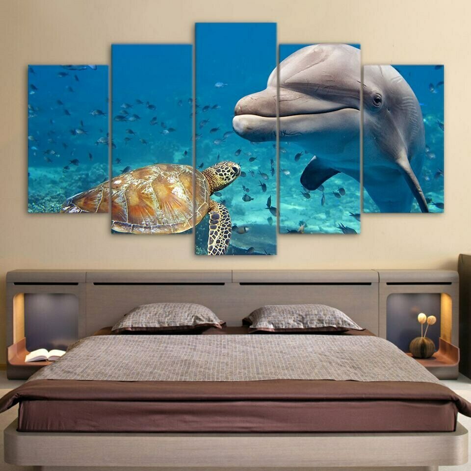 Sea Turtles - 5 Panel Canvas Print Wall Art Set