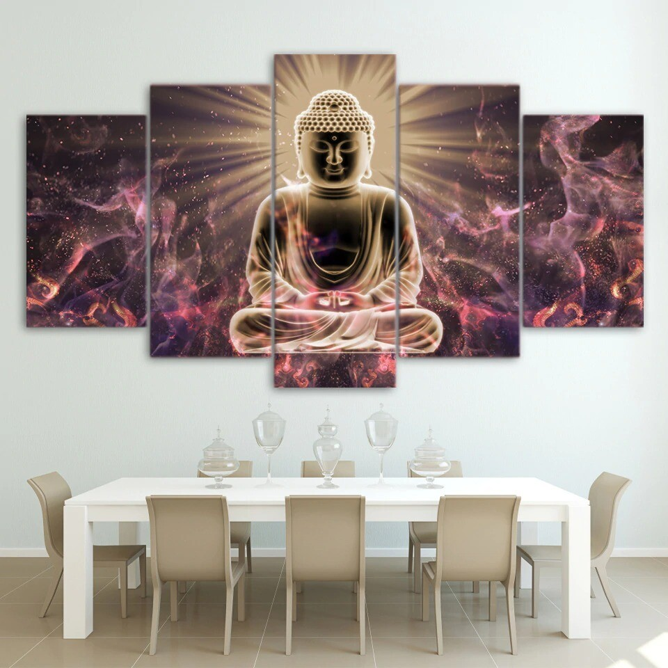 Light Buddha - 5 Panel Canvas Print Wall Art Set