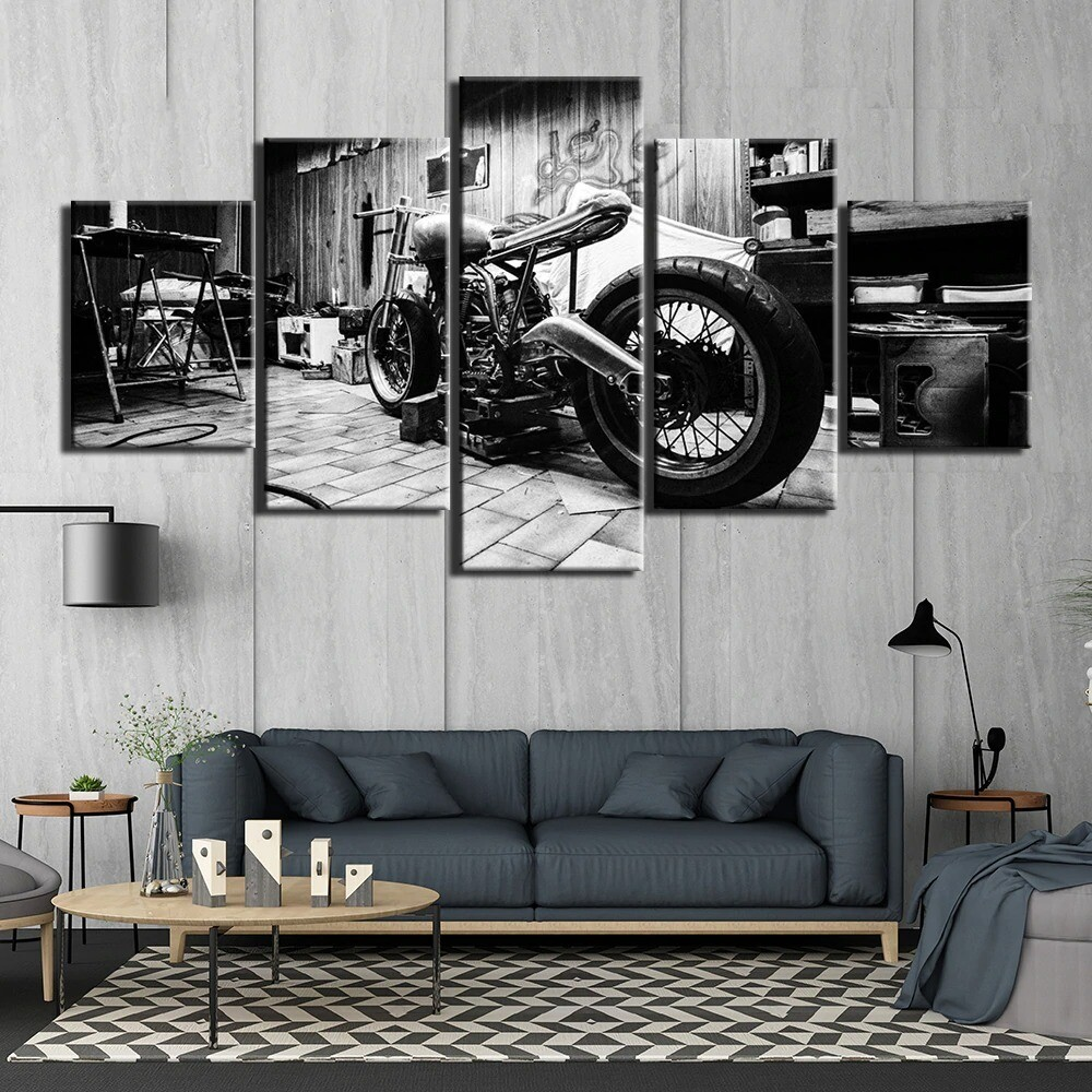 Black and White Motorcycle - 5 Panel Canvas Print Wall Art Set