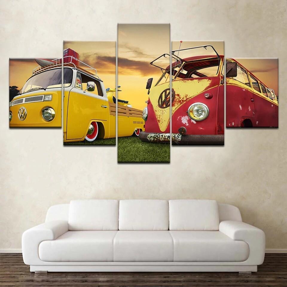 Classic Retro Bus Car Truck - 5 Panel Canvas Print Wall Art Set