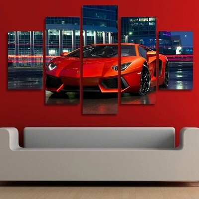 Red Luxury Sports Car - 5 Panel Canvas Print Wall Art Set