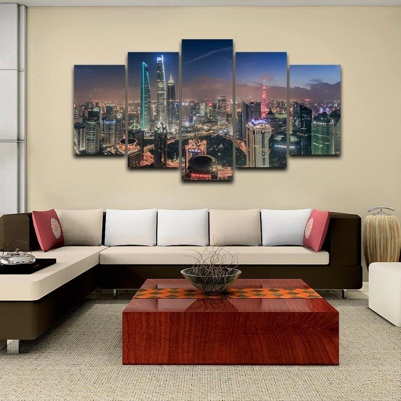 Shanghai Tower City Building - 5 Panel Canvas Print Wall Art Set