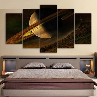 Science Space Fantasy Planet - 5 Panel Canvas Print Wall Art Set