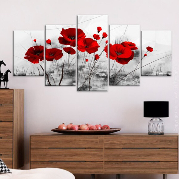Red Poppy Flower - 5 Panel Canvas Print Wall Art Set