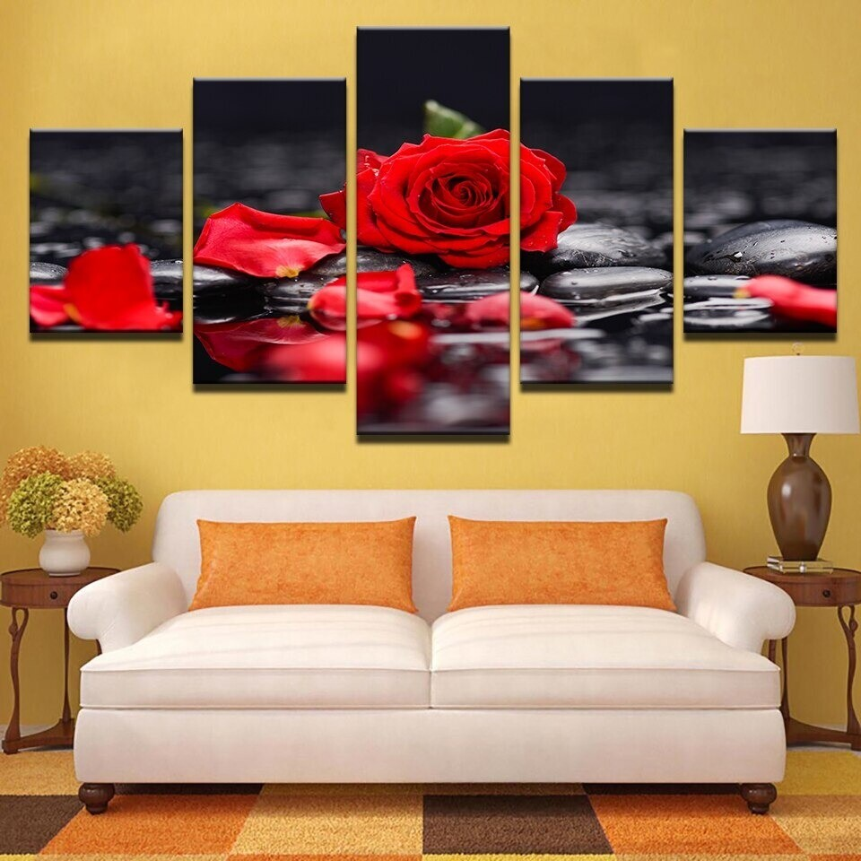 Red Rose Flowers - 5 Panel Canvas Print Wall Art Set