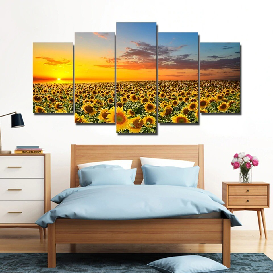 Sunflower Sunset - 5 Panel Canvas Print Wall Art Set