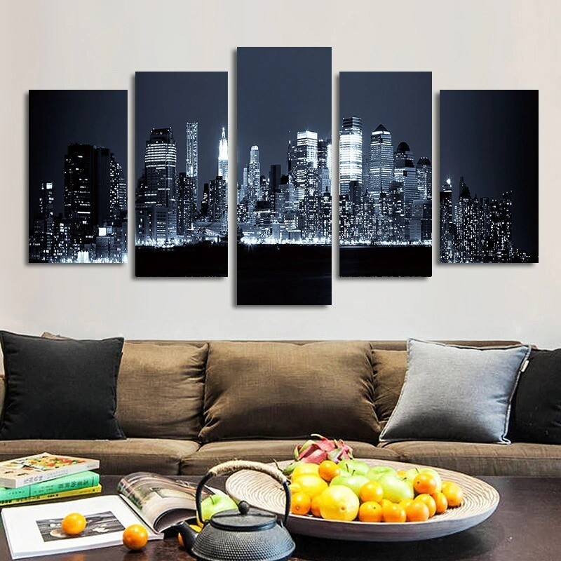 Black And White City Night View Pictures - 5 Panel Canvas Print Wall Art Set