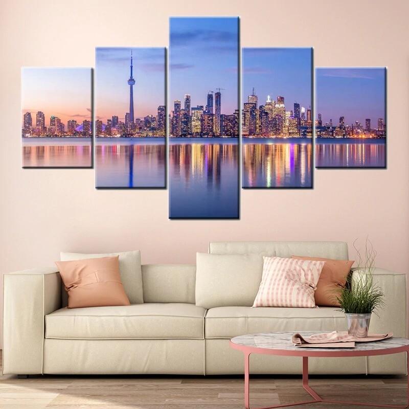 City Toronto Skyline - 5 Panel Canvas Print Wall Art Set