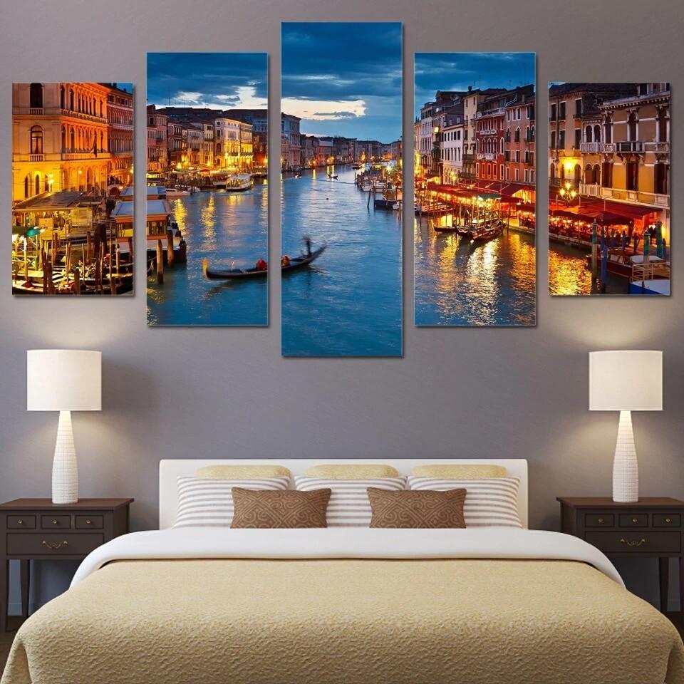 Venice Water City Boat Light Landscape - 5 Panel Canvas Print Wall Art Set
