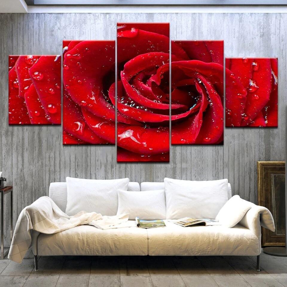 A Red Rose Flower - 5 Panel Canvas Print Wall Art Set