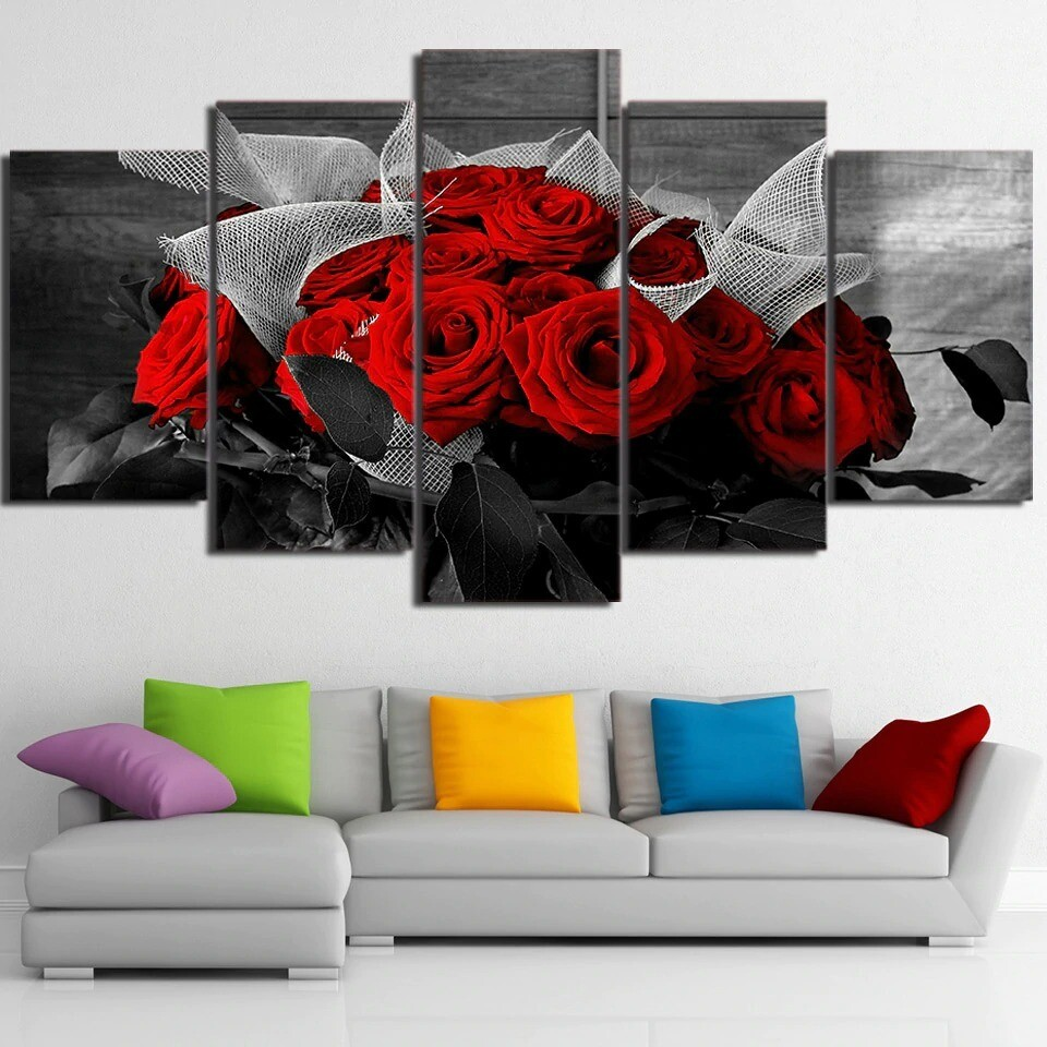 Beautiful Red Roses - 5 Panel Canvas Print Wall Art Set
