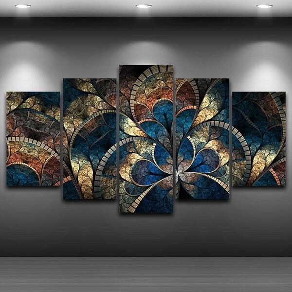 Fantasy Flowers - 5 Panel Canvas Print Wall Art Set