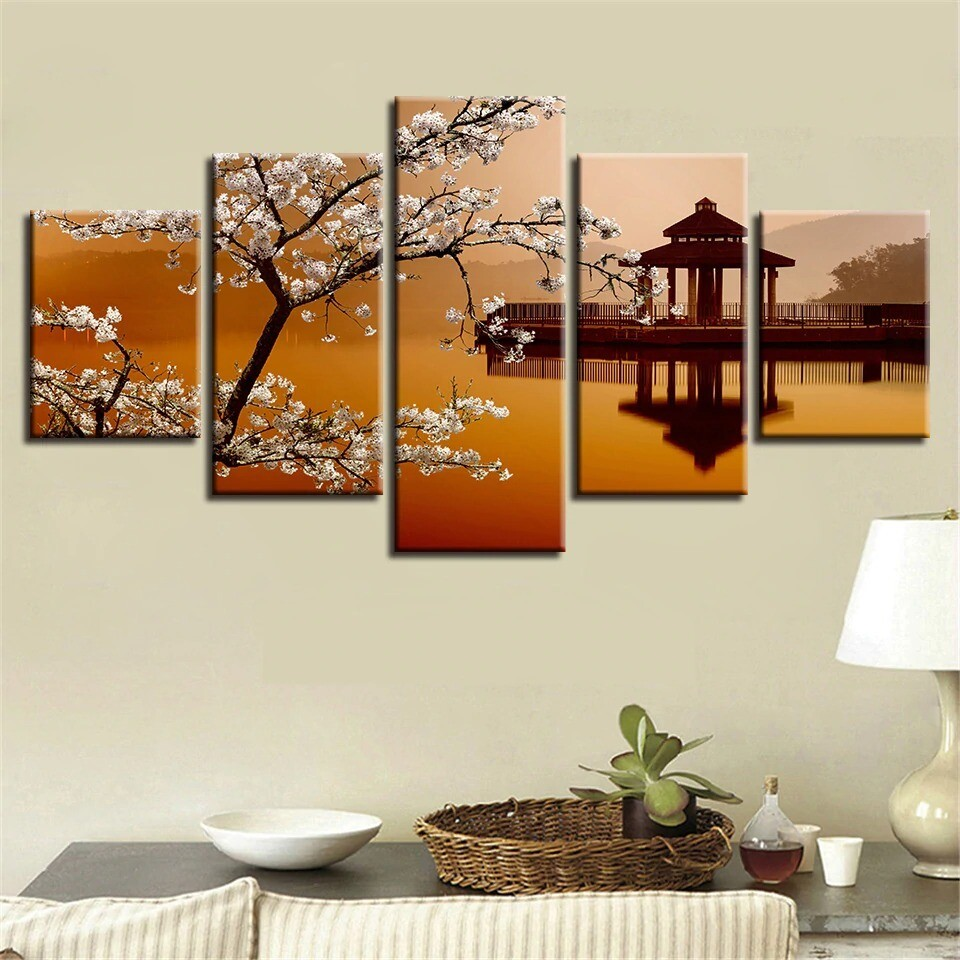 Pear Flower And Small Pavilion Retro Scenery - 5 Panel Canvas Print Wall Art Set