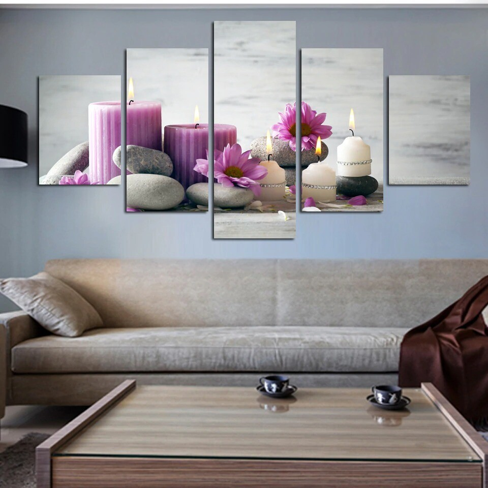Red White Candles Stone Flower - 5 Panel Canvas Print Wall Art Set