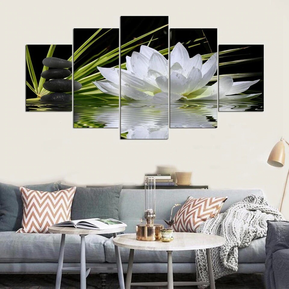White Lotus Flower Water Cobblestone - 5 Panel Canvas Print Wall Art Set