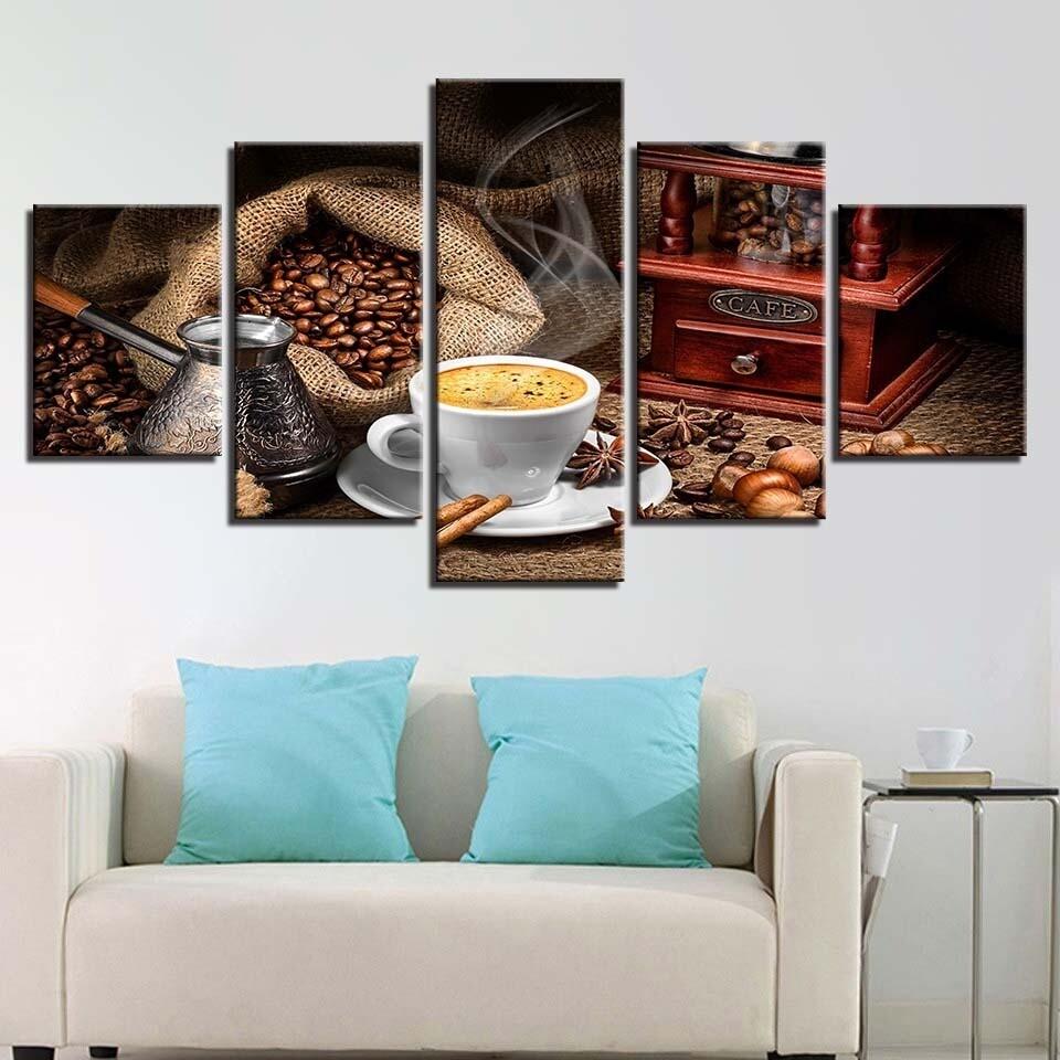 Coffee - 5 Panel Canvas Print Wall Art Set