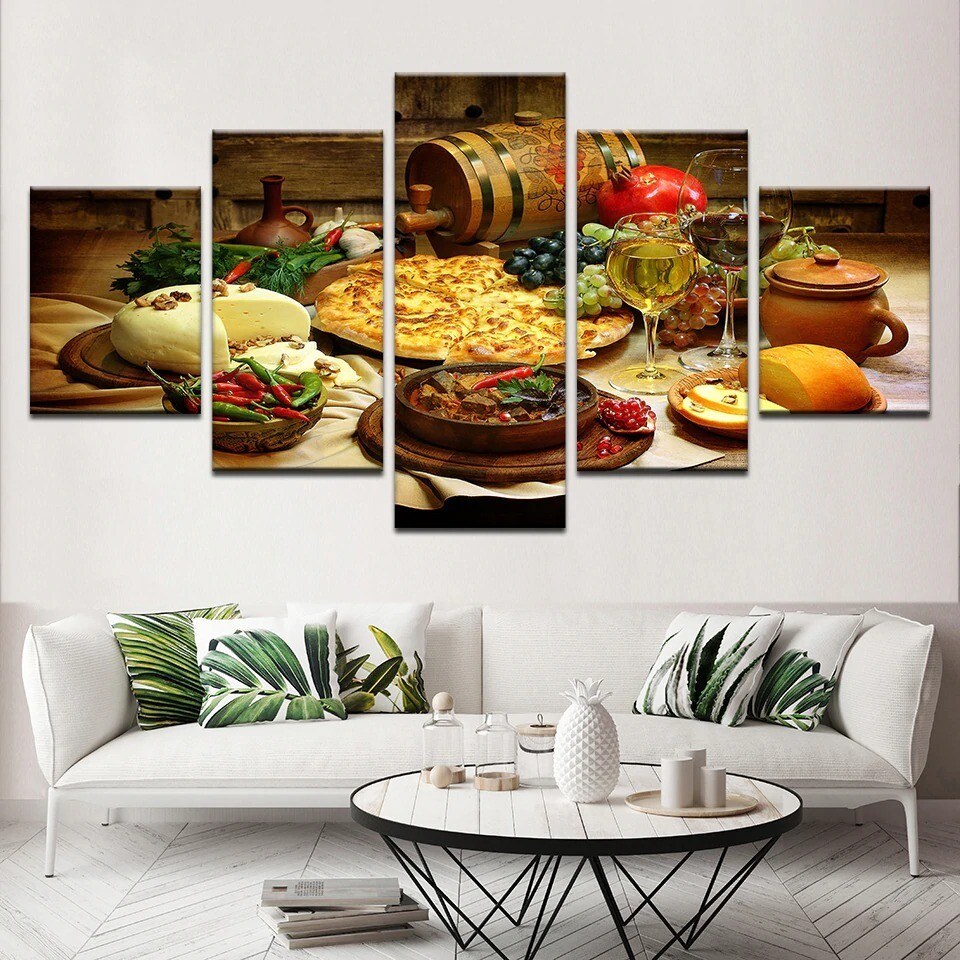 Food And Drinks - 5 Panel Canvas Print Wall Art Set