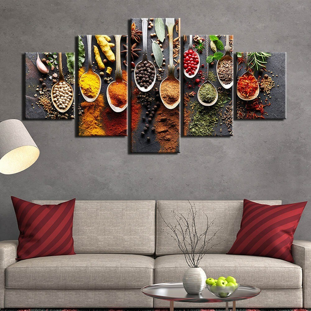 Kitchen Food Spices - 5 Panel Canvas Print Wall Art Set