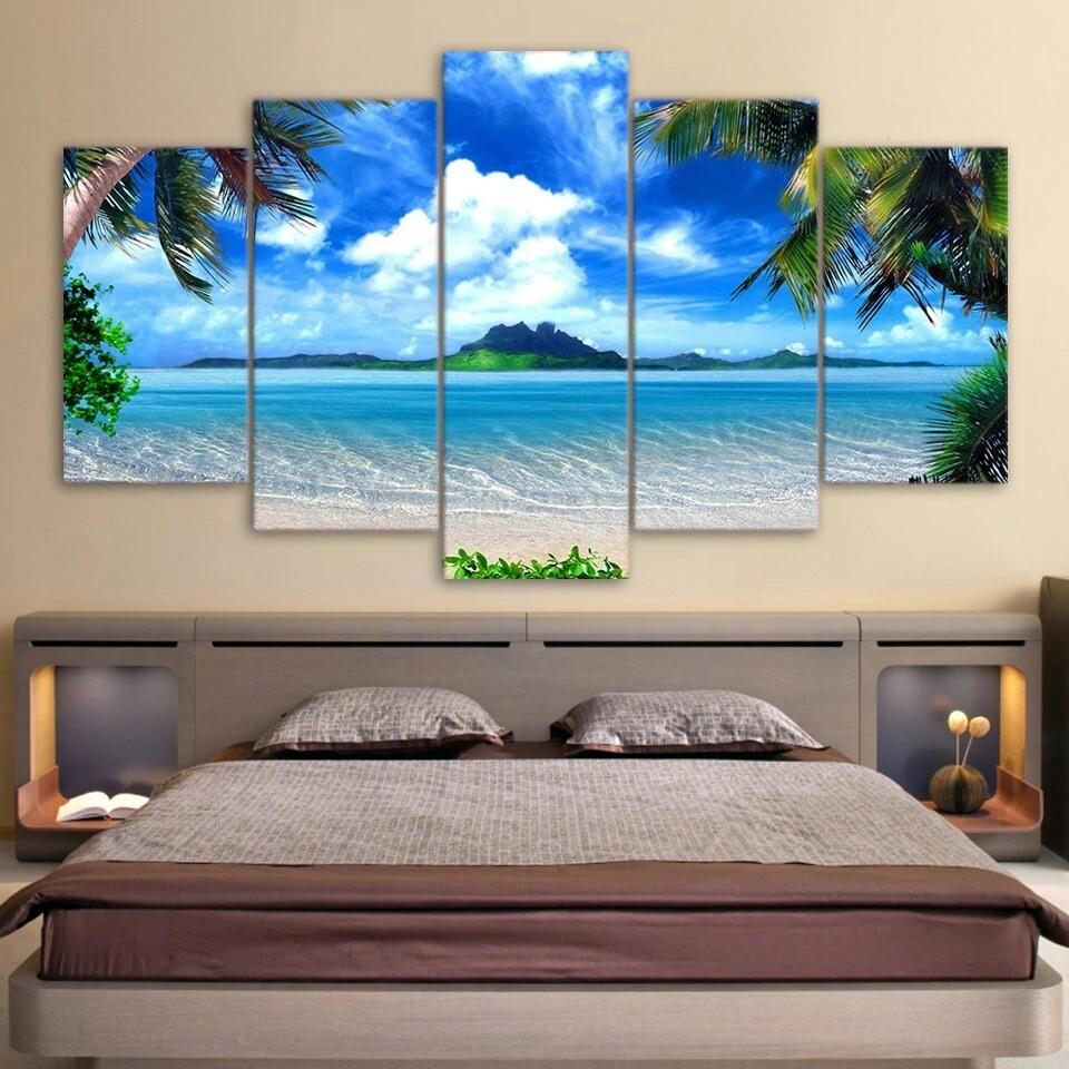 Beach Blue Palm Trees - 5 Panel Canvas Print Wall Art Set