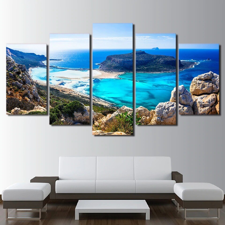 Blue Sea Beach Island Seascape - 5 Panel Canvas Print Wall Art Set